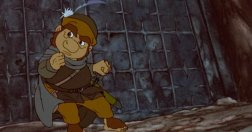 Sam tries to rescue Frodo from the orcs in the cartoon.