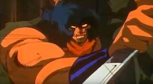 Violence Jack with fangs and glowing eyes.