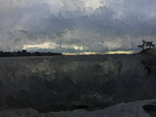 An oil painting of Gonzales Beach, Victoria.