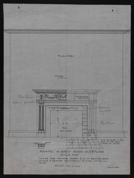 Mantel in Guest Room on 3rd Floor, Revised July 12, 1906