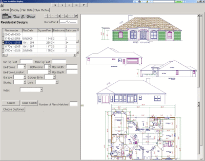 The plans display program displays floor plans, elevations and other relevant data for customers to browse.