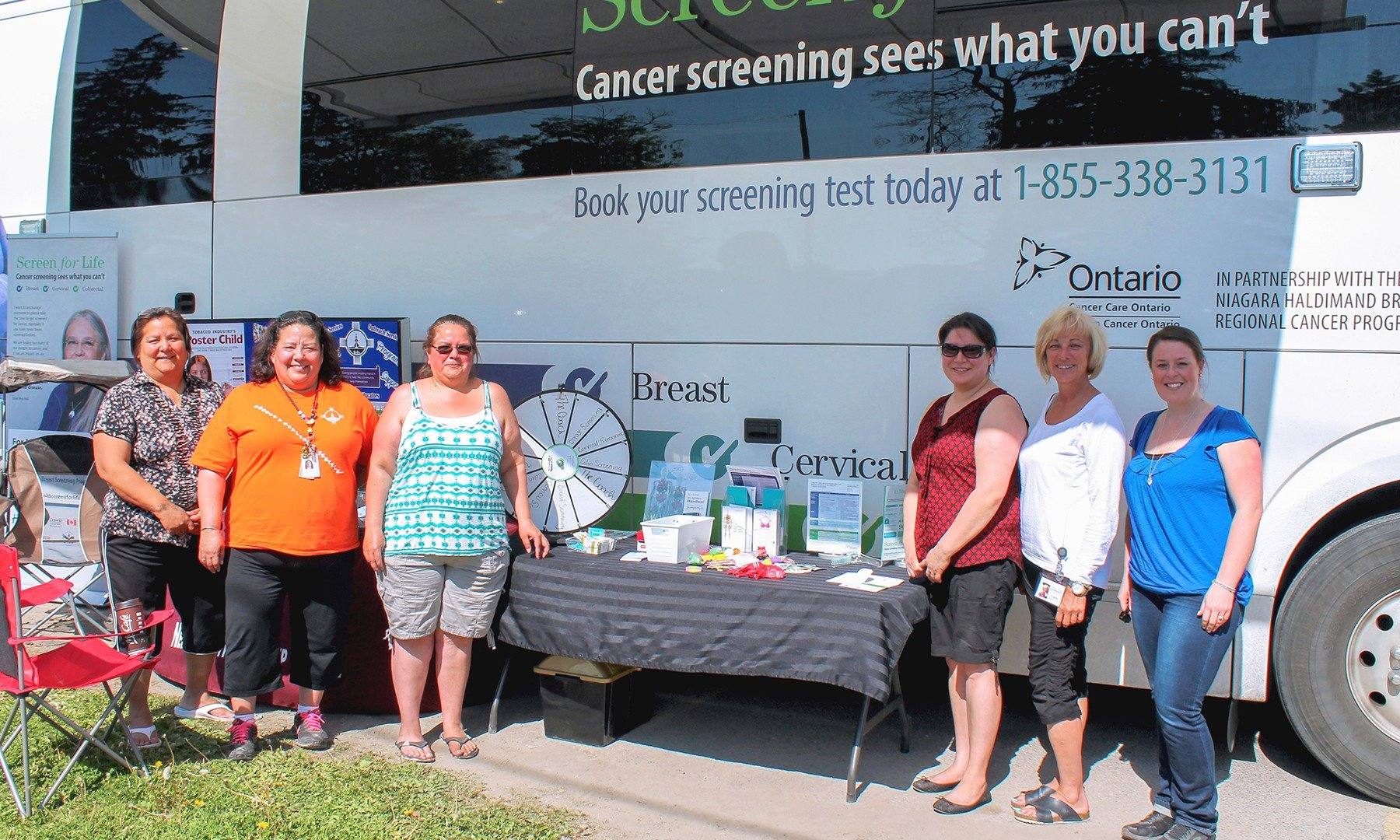 Community members, staff and volunteers of the mobile screening unit were participating in screenings last Friday, May 20. From left to right: Darlene LaForme, Deborah Martin, Tammy Hill, Lacey VanEvery (RN), Carrie Claxton (MRTM, CBI) and Alyssa Higginson.