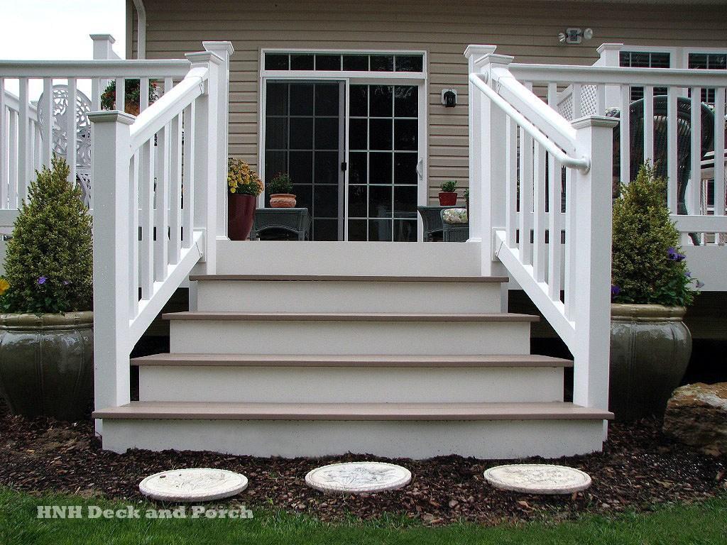 Deck Steps Gallery Hnh Deck And Porch Llc 443 324 5217   Vinyl Railing For Steps   Aluminum   Veranda   Hand   Square   Traditional