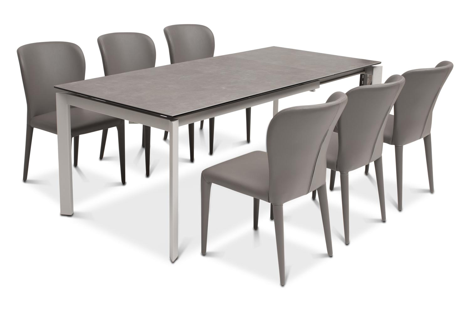 Black Dining Room Table And Chairs Callisto Dining Table Dark With 6 Aletta Chairs Dark Grey