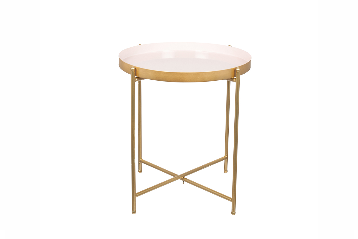 Metal Round Side Table Light Pink Amp Gold Small Ireland