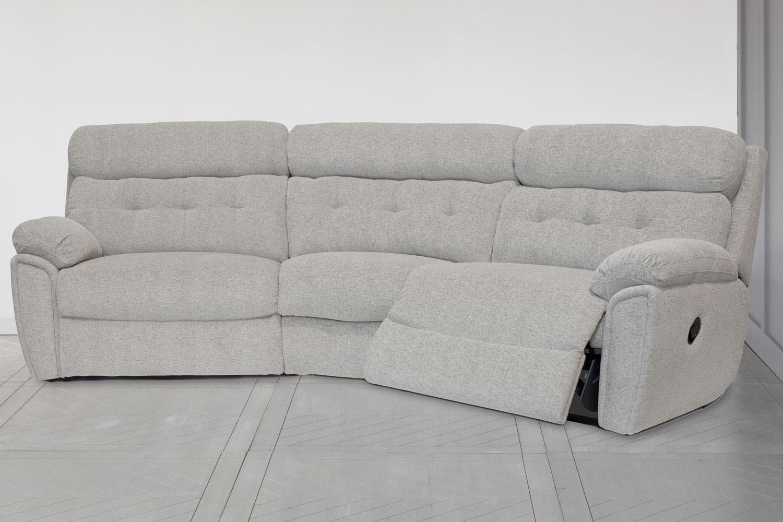 kayla curved corner sofa 4 seater large manual recliner