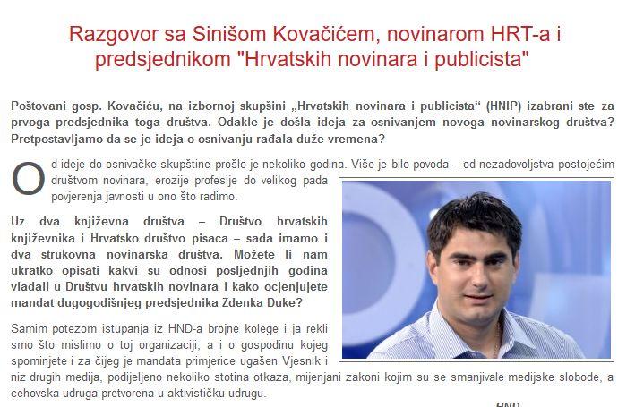 Siniša Kovačić: Medijske slobode padaju, sve je manje istraživačkih tema