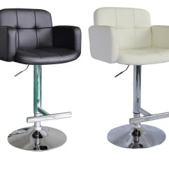 Kitchen Breakfast Bar Stools Large White Island A Pair Of Style Swivel Pu Leather