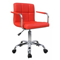 Red Cuban Faux Leather Swivel Office Chair