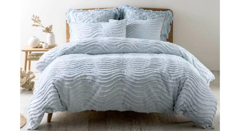 Linen House Drift Quilt Cover Set  Soft Blue  Domayne