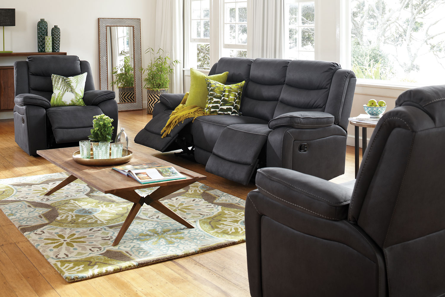 leather recliner chairs harvey norman white garden plastic tyler 3 piece fabric lounge suite