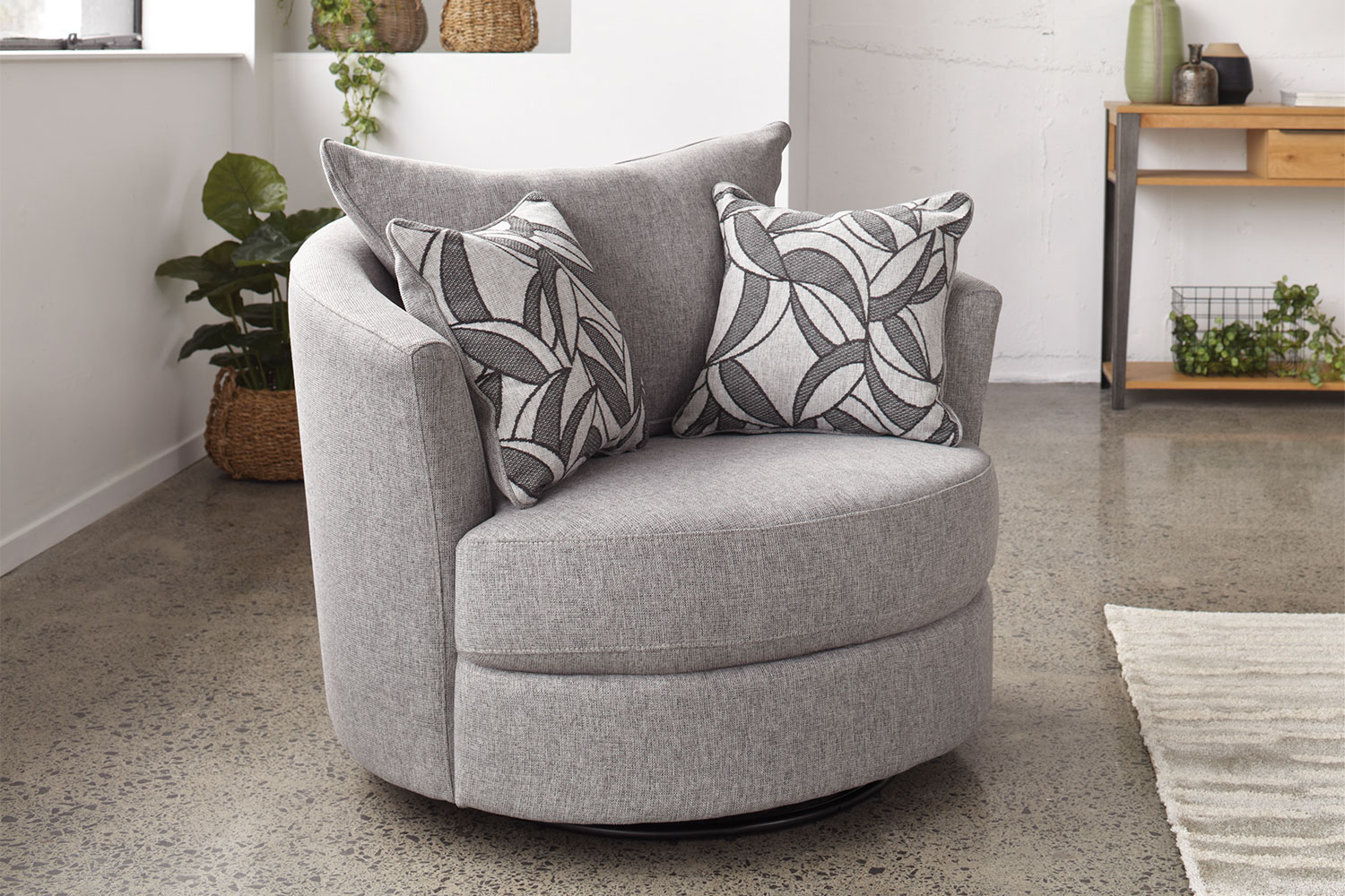 swivel chair small bird knoll greystone fabric harvey norman new zealand