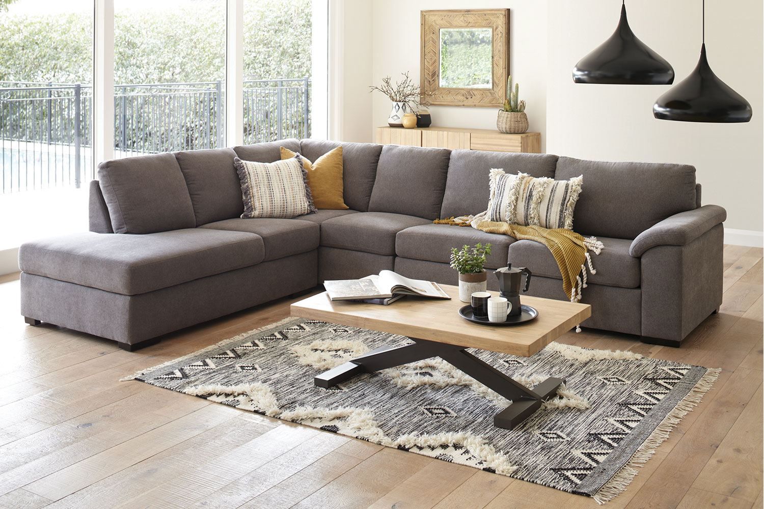 lazy boy chairs nz grey kitchen table and nebula 5 seater fabric corner lounge suite with sofa bed