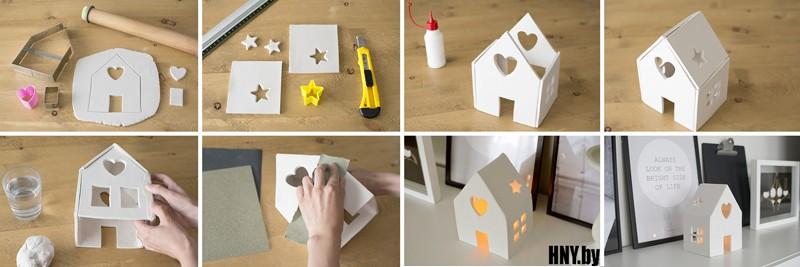 Новогодний домик из соленого теста: делаем оригинальный подсвечник своими руками
