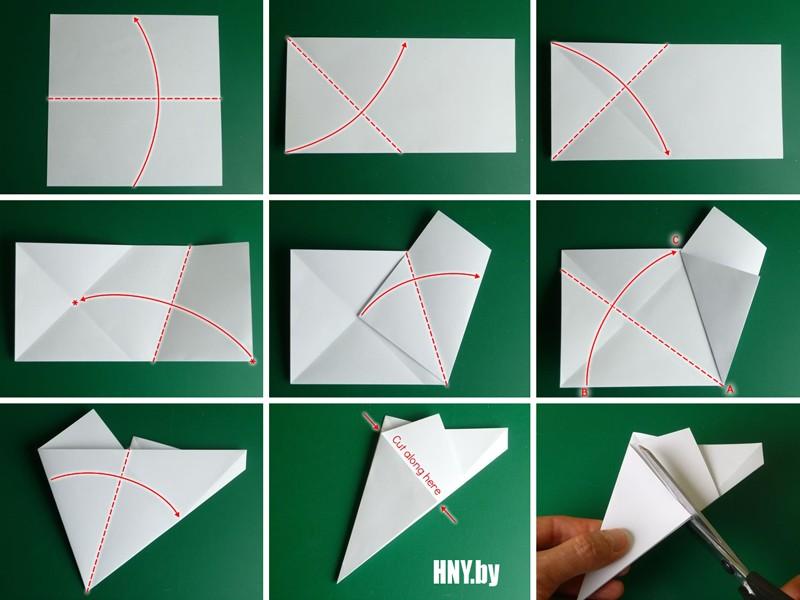 Origami Bintang Tahun Baru untuk menghiasi pokok Krismas dengan tangan mereka sendiri