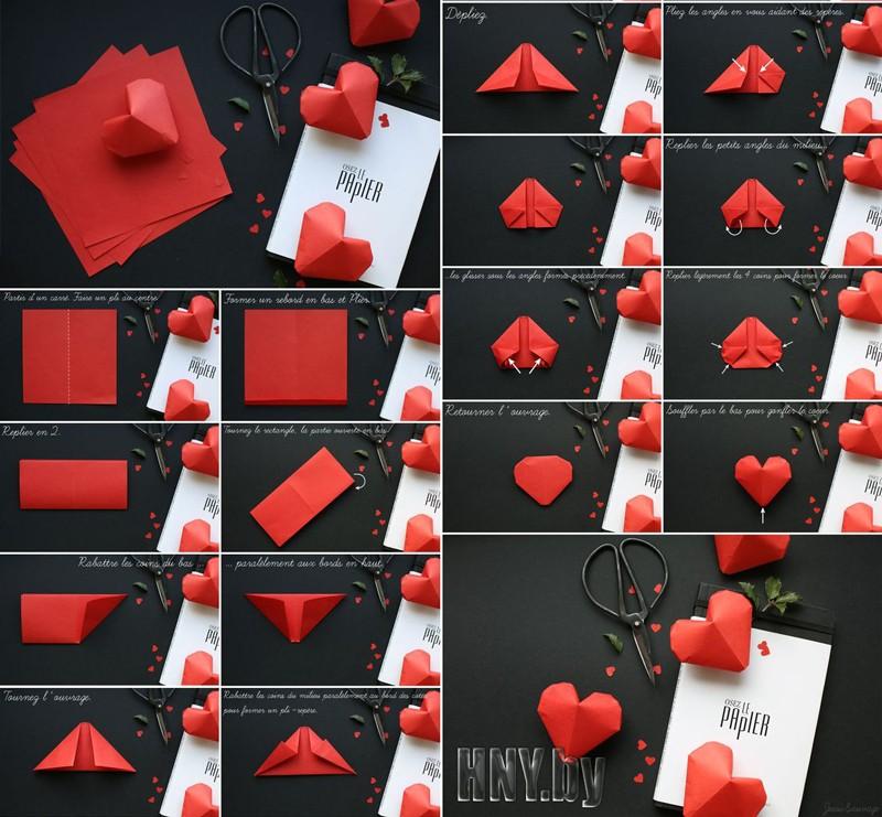 Объемные поделки из бумаги: схема оригами сердца своими руками