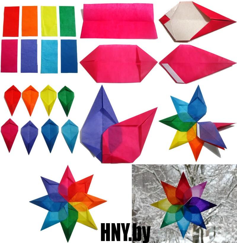 Bintang Tahun Baru yang mudah dari kertas berwarna: Kami membuat mainan di atas pokok Krismas yang diperbuat daripada kertas