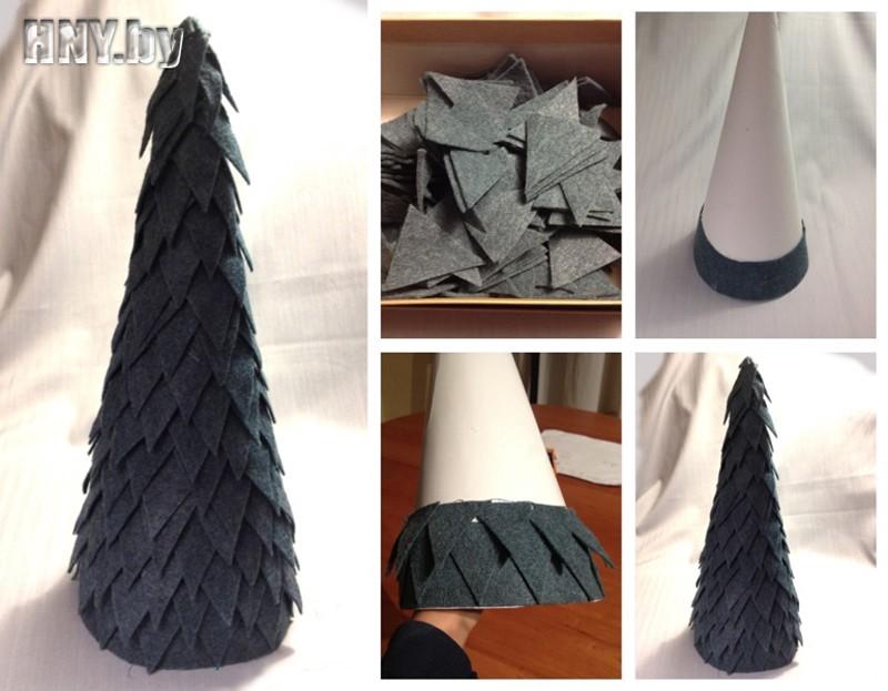 Arborele de Crăciun decorativ al triunghiurilor simțite - pas cu pas mk