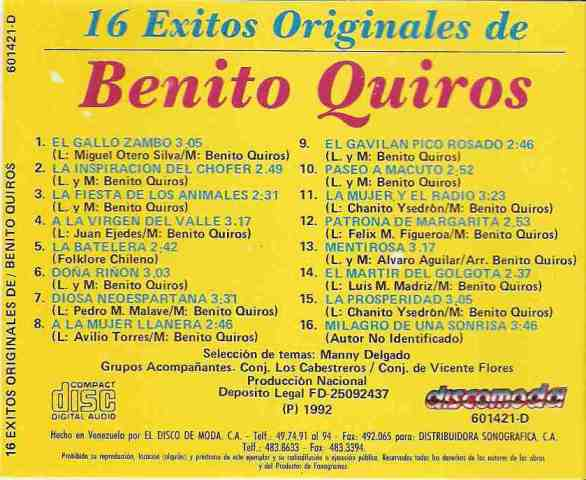 Benito Quiros - 16  Éxitos originales - 1992  (2/2)