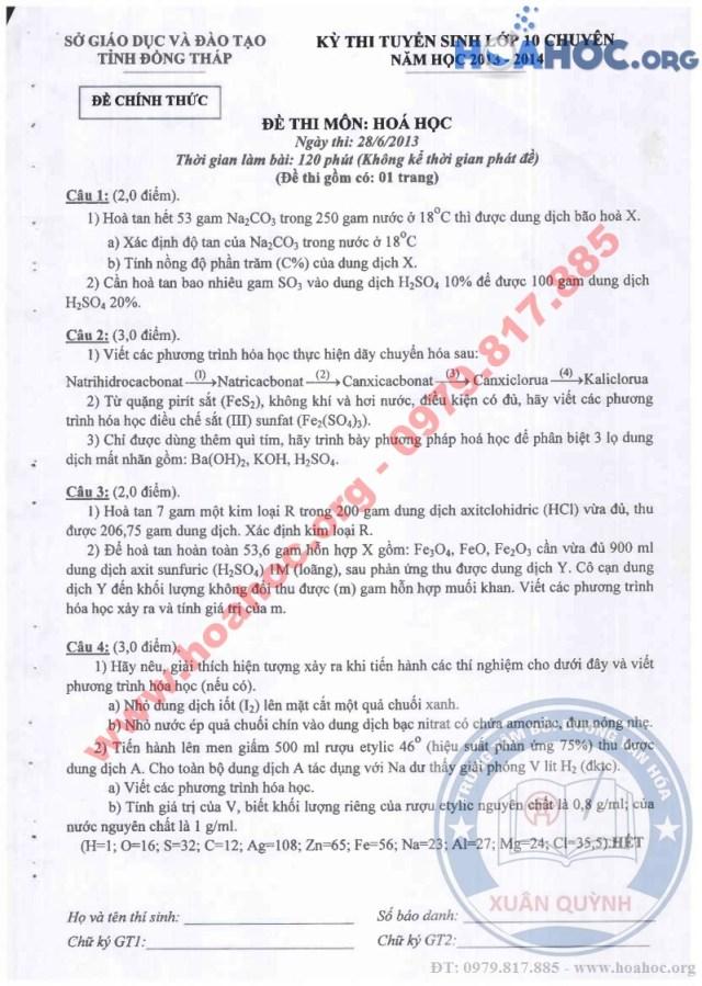 Đề thi tuyển sinh lớp 10 chuyên - tỉnh Đồng Tháp - Năm 2013 - 2014