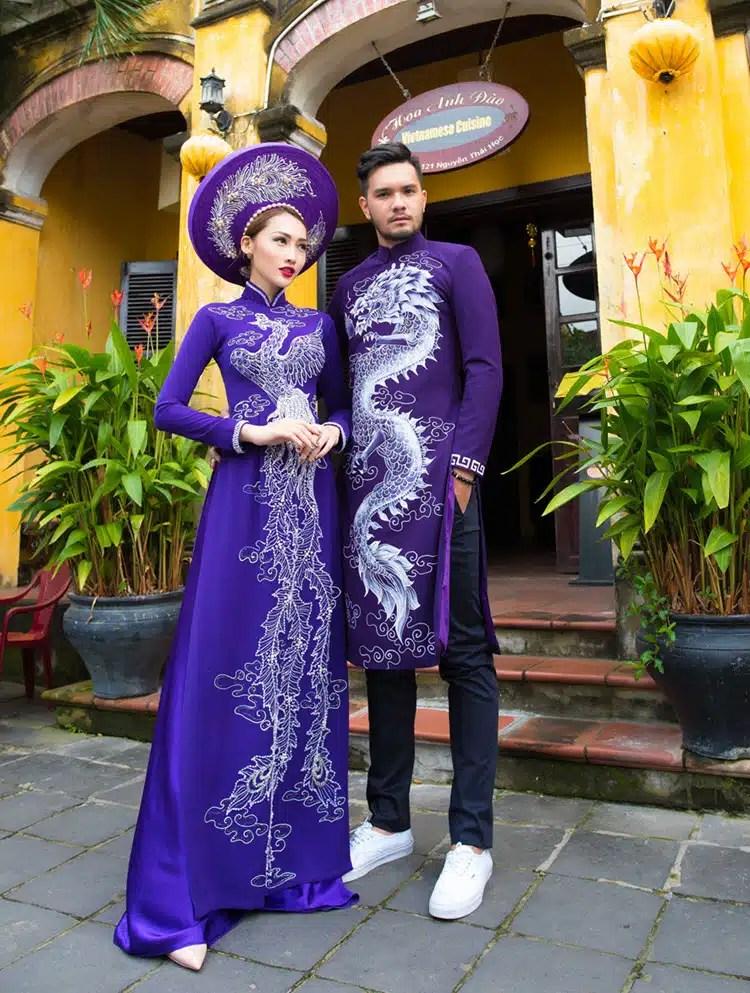Áo dài cưới tím trẻ trung vẽ phượng và rồng