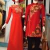 Áo dài nam cách tân đỏ họa tiết tròn truyền thống