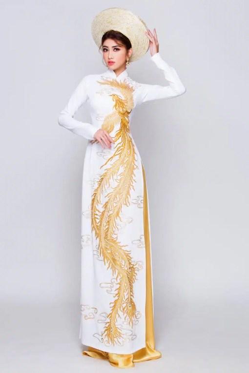 Áo dài nữ cưới trắng họa tiết chim phượng sang trọng