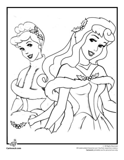 disney princess christmas coloring pages  part 7