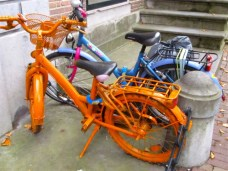 Orange painted bicycle
