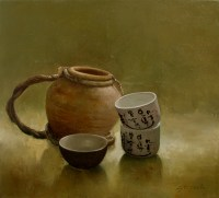 JAPAN CUPS - Oil on canvas 20 x 20