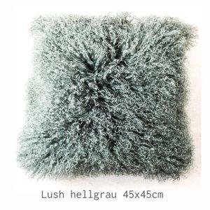 Ligne Pure Fellkissen Lush Hellgrau Quadrat Kissen Kunstfell Grau Fell