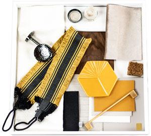 Elegantes design Materialkonzept Muster Stoffe Fransen Senfgelb schwarz
