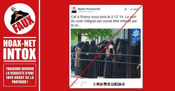 Non, il ne s'agit pas d'une photo prise à « la CAF de Rosny-sous-Bois » en décembre 2014.