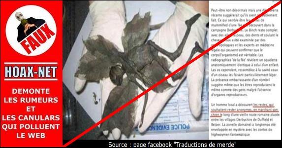 La fée momifiée du Derbyshire n'était qu'une blague du 1er Avril 2007 !