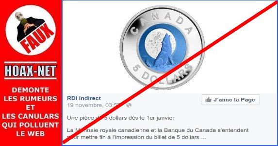 NON, La Monnaie royale canadienne et la Banque du Canada ne mettront pas fin au billet de 5 dollars au profit d'une pièce !