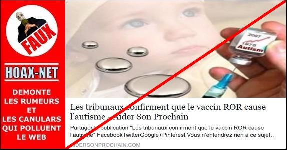 NON, le vaccin ROR ne cause pas l'autisme