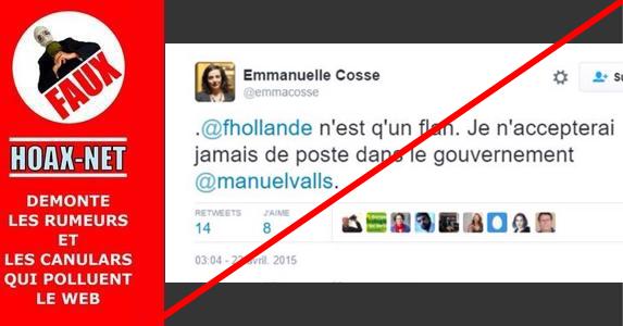 Non, Emanuelle Cosse n'a pas fait de tweet anti-flan