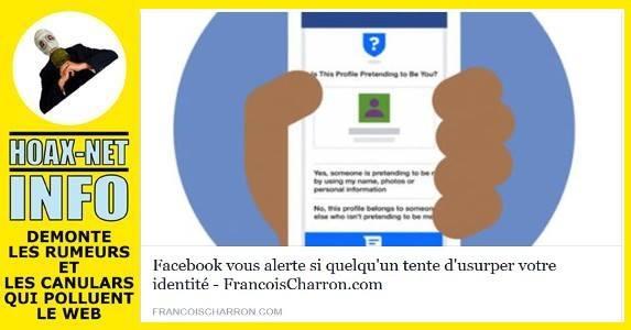INFO Facebook vous alertera si quelqu'un tente d'usurper votre identité