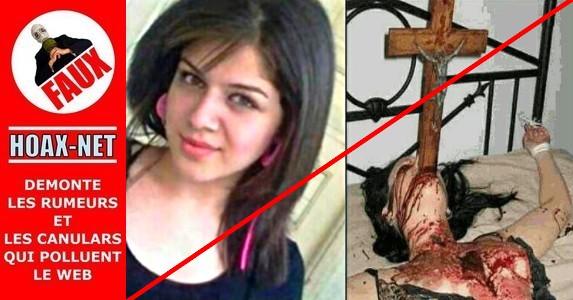NON, cette jeune femme chrétienne n'a pas été tuée avec un crucifix dans sa gorge !