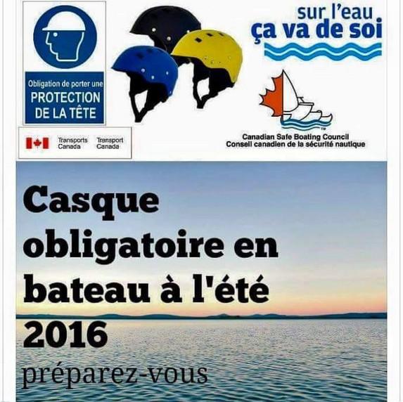 CASQUE OBLIGATOIRE EN BATEAU AU CANADA-