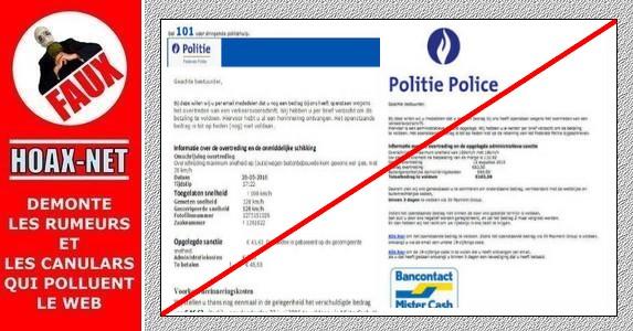 La police (fédérale) Belge n'envoie jamais de demande de payement des amendes par internet!