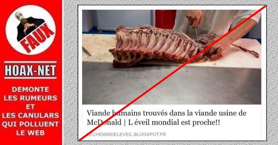 FAUX, aucun McDonald's n'a été épinglé pour avoir acheté, vendu, ni utilisé de viande de cheval, ni de viande humaine !