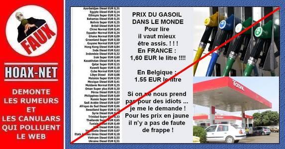 Intox, sur les prix du gasoil dans le monde.