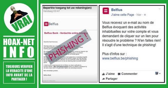 Méfiez-vous, la Banque Belfius (Be) ne demande jamais d'infos perso par mail.