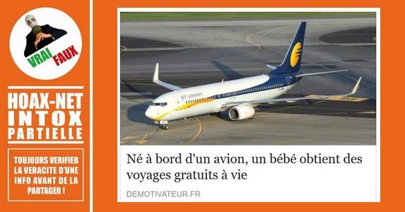 MISE AU POINT : les bébés naissant dans un avion n'obtiennent pas tous des voyages gratuits à vie.