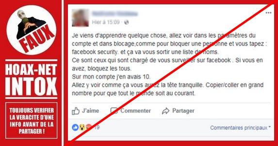 Non, Facebook Security n'est pas chargé de vous surveiller !