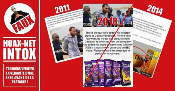 NON, Pepsi-Cola, Frooti et Cadbury ne contiennent pas de sang infecté par le VIH.