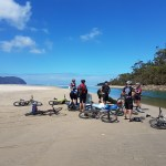 How are we getting across that river with our mountain bikes, Jono.....?