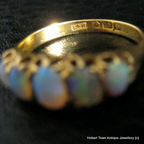Quality Antique Opal 5 Stone 18ct Gold Ring 1890