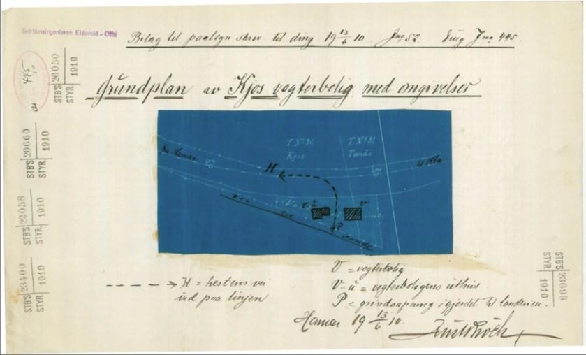 Teknisk tegning 1910 - Just Broch (Norsk Jernbanemuseum)